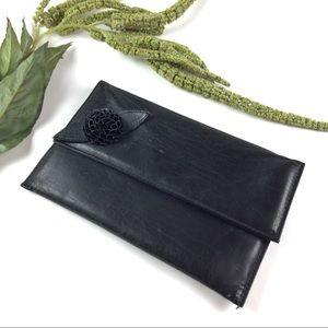 Vintage | Black leather clutch